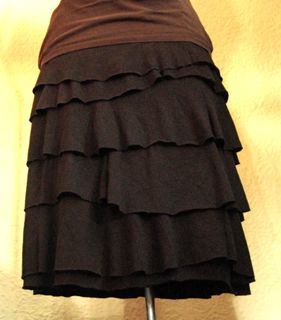t-shirt to ruffle skirt